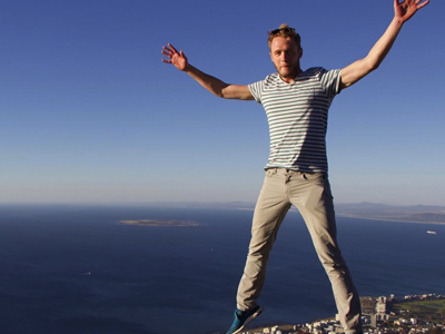 Co founder of The Things Network from the Netherlands on top of Table Mountain, Cape Town, South Africa